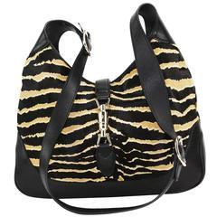 New Gucci Jackie Hobo Zebra Print Pony Hair Extra Long Strap Black Caramel