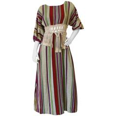 1970s Macrame Striped Maxi Dress