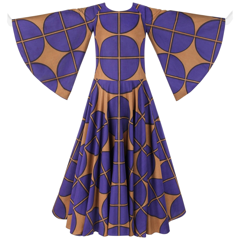 MARIMEKKO c.1971 Purple & Brown Cotton Circle Windowpane Print Maxi Dress