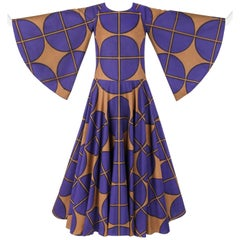 MARIMEKKO c.1971 Purple & Brown Cotton Circle Windowpane Print Maxi Dress