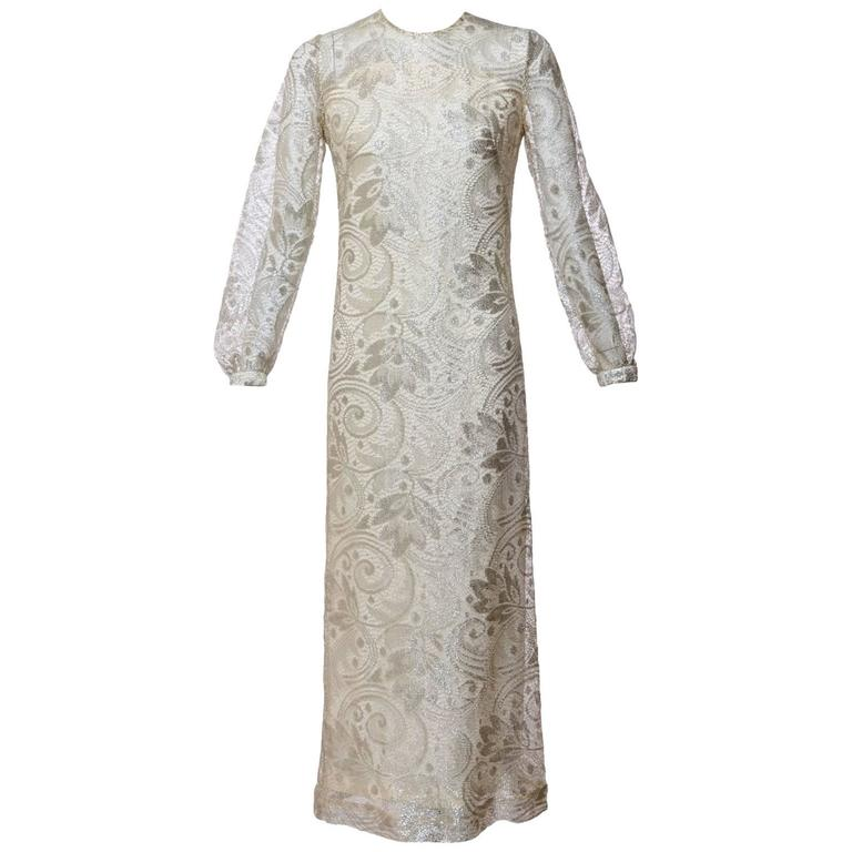 1960s Anonymous Silver Lace Long Sleeve Column Evening Dress Gown ...