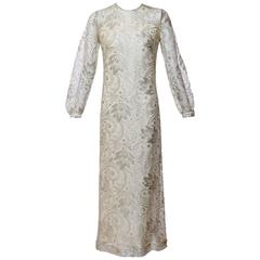 1960s Anonymous Silver Lace Long Sleeve Column Evening Dress Gown