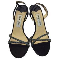 Jimmy Choo Glitter Strap Sandal Heels