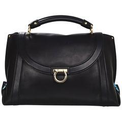 Salvatore Ferragamo Black Soft Leather Sofia Satchel Bag w/ Crossbody Strap