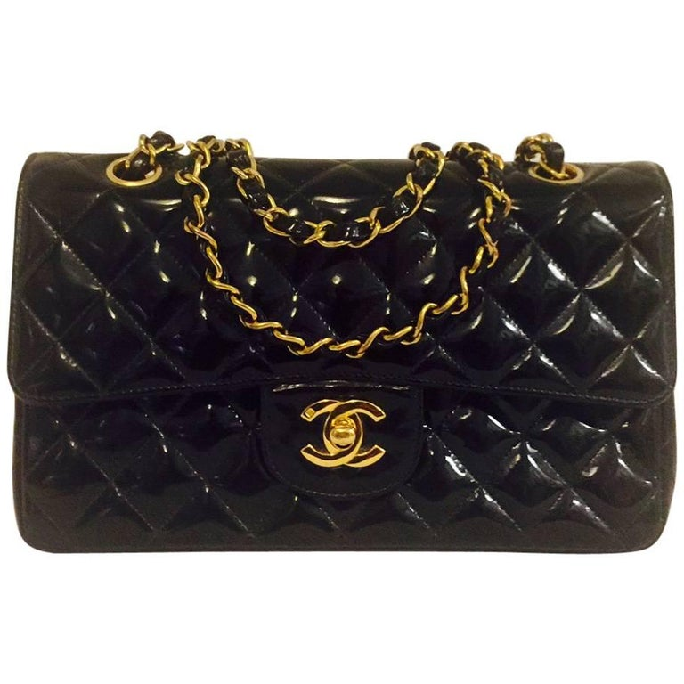 Chanel Black Patent Classic Flap Bag Small-Gold Tone Hardware No. 3960312  For Sale cd6163d6ff7e7