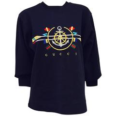 Iconic and Collectible Gucci Navy Jersey Pullover With Nautical Motif