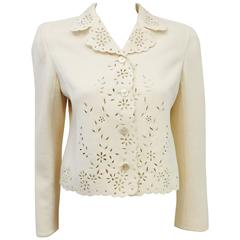 Valentino Ivory Wool and Cashmere Jacket With Eyelet Trim and Detail