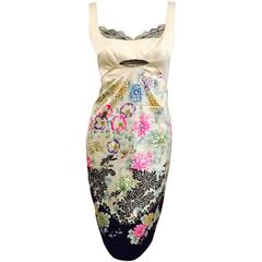 Roberto Cavalli Ivory Silk Exotic Floral Print Sleeveless Sheath With Black Lace