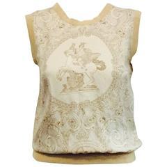 Hermès Tan Silk Hermès on Pegasus Print Sleeveless Top With Banded Trim