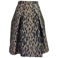 Carolina Herrera Leopard Print Ribbed Satin Bell Skirt