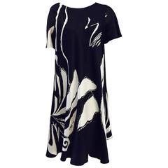 Fiandaca Black and White Abstract Print Silk Short Sleeve Trapeze Dress