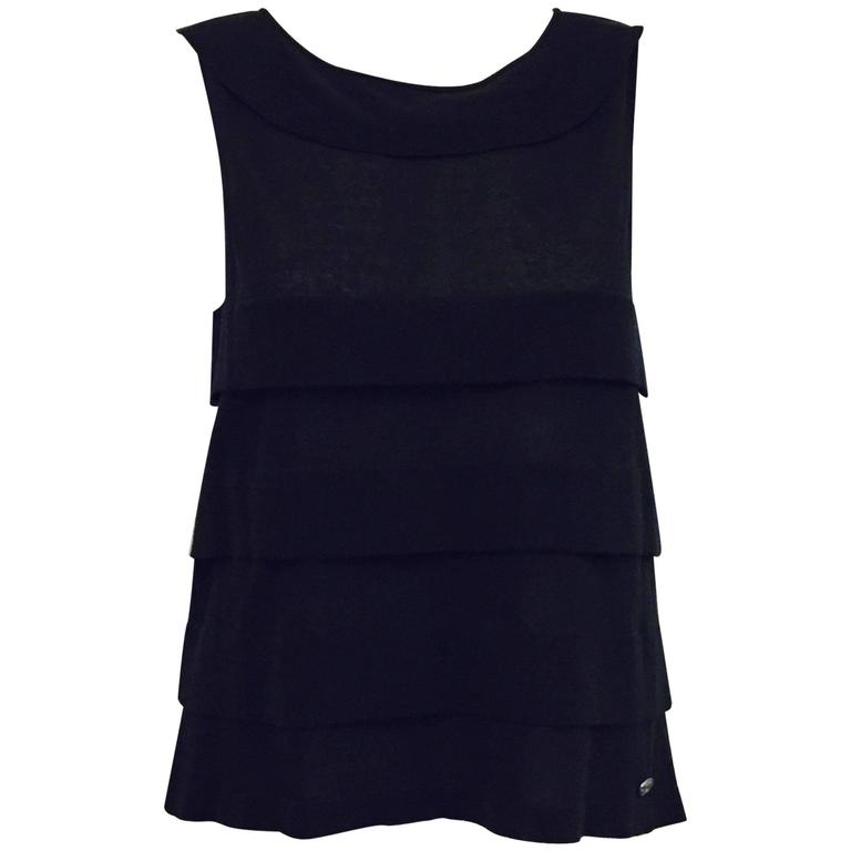 Chanel 2006 Black Sleeveless A-Line Top W Bateau Neckline and Sheer Panels 1