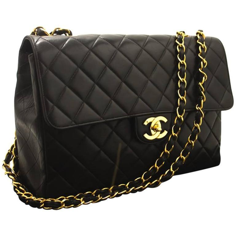 Chanel Jumbo 11 Quot Large Chain Shoulder Bag Crossbody Black