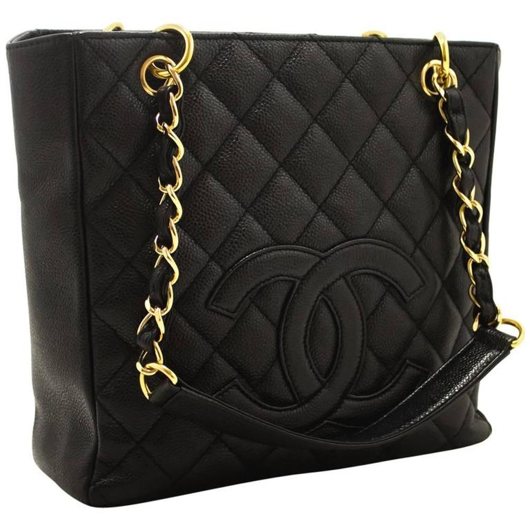 CHANEL Caviar Chain Shoulder Bag Shopping Tote Black Quilted  For Sale