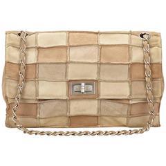 Chanel White Suede Flap Shoulder Bag