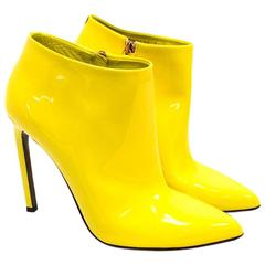 Gucci Yellow Patent Leather Heeled Ankle Boots