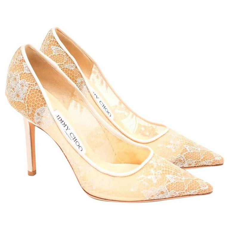 57322e8f2d6 Jimmy Choo White Abel 90 Lace Point Toe Pumps For Sale at 1stdibs