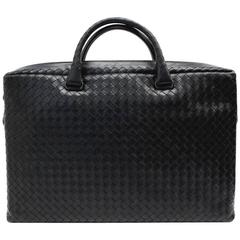 Bottega Veneta Black Briefcase in Prusse Intrecciato Calf