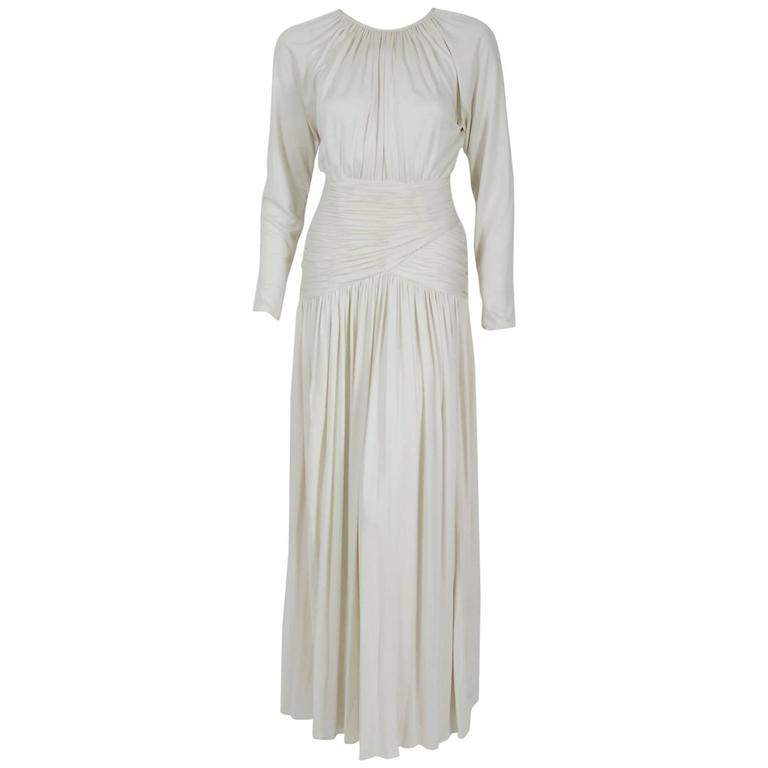 1992 Oscar de la Renta Ivory-White Ruched Silk Grecian Goddess Gown w/Tags For Sale
