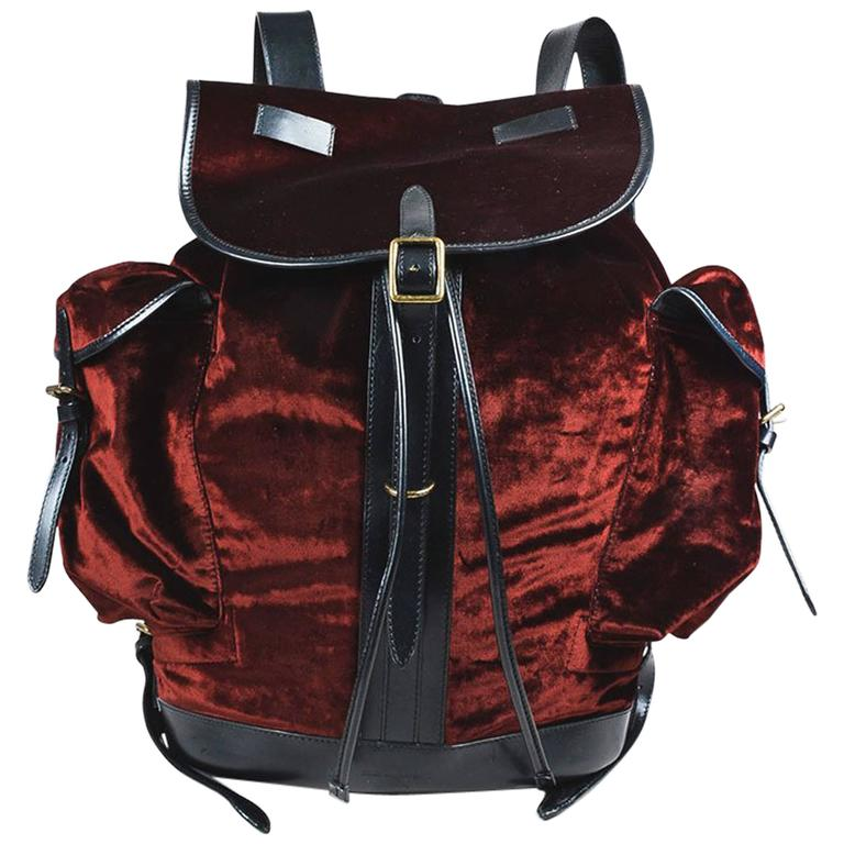 Dries Van Noten NWT Burgundy Black Velvet Leather Trim Drawstring Backpack Bag 1