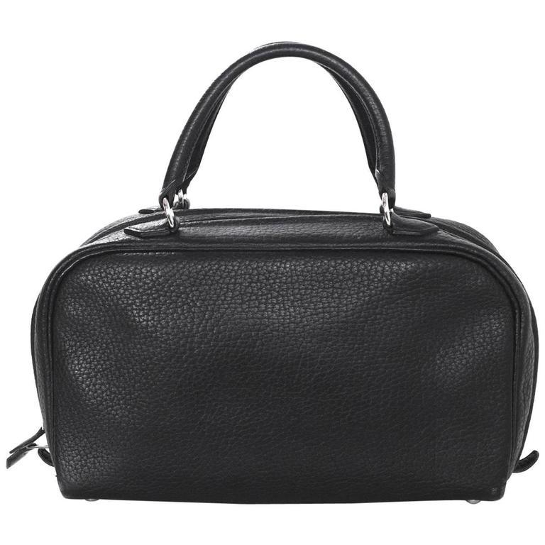 Hermes Black Clemence Leather Sac en Vie 26 Handbag