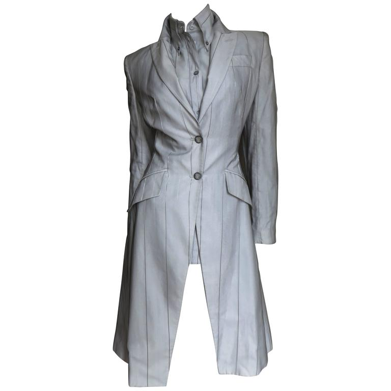 1999 Alexander McQueen Silk Shirt & Long Jacket