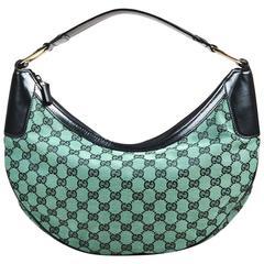 Gucci Green Black Monogram Canvas Leather Round Zip Top Shoulder Bag