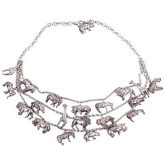 Sterling Multi-Strand Necklace with Animal Charms with matching earrings