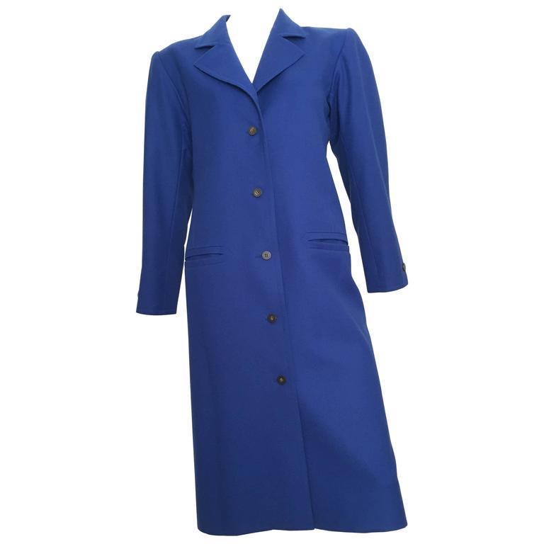 Yves Saint Laurent Yves Klein Blue Wool Coat Size 8.