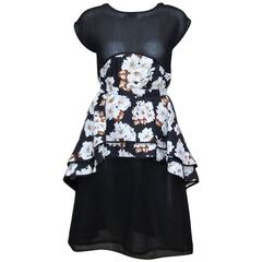 Lovely 1970's Geoffrey Beene Black Floral Two Piece Dress