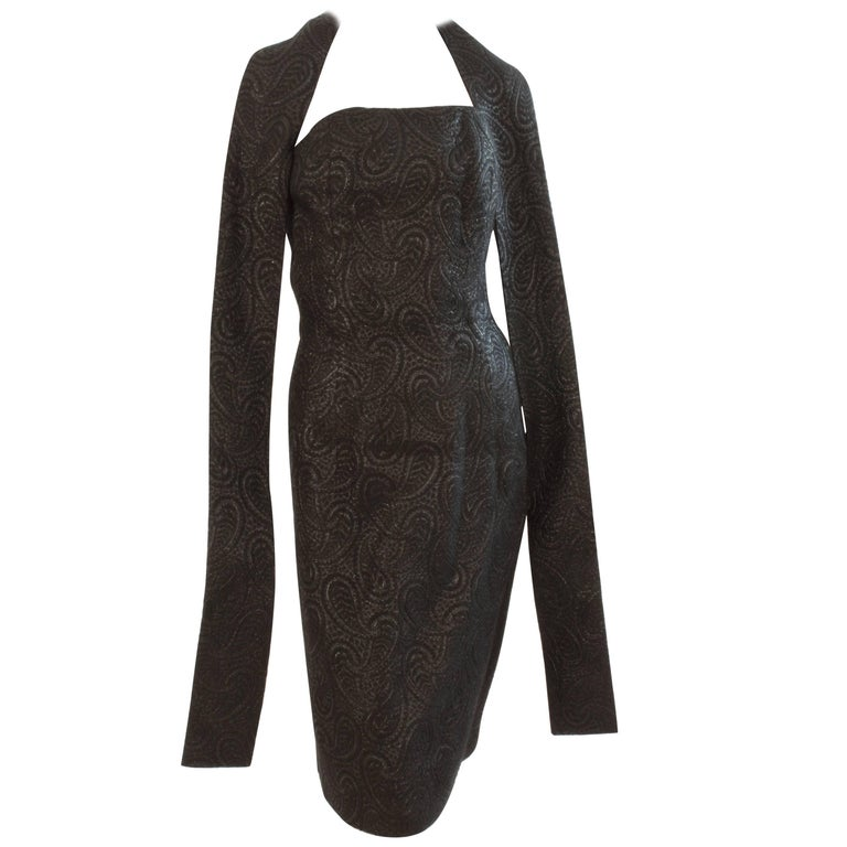 Rare Givenchy Black Cocktail Dress with Wrap or Belt Paisley Lurex Silk S 60s