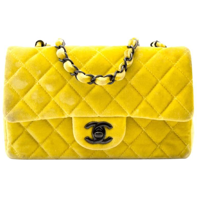 Chanel New Mini Yellow Velvet Flap Bag For Sale