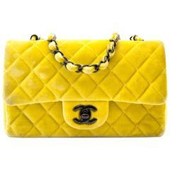Chanel New Mini Yellow Velvet Flap Bag