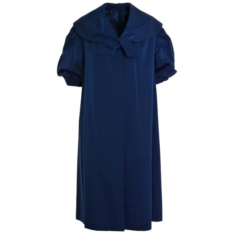 1950s Vintage Blue Satin Evening Overcoat