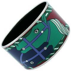 Hermes Extra Wide Equestrian Printed Enamel Bracelet