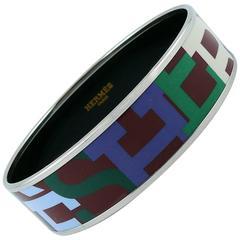 Hermes Wide Capitales Printed Enamel Bracelet