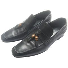 Gucci Italy Mens Black Leather Bamboo Tassel Loafers US Size 12 D