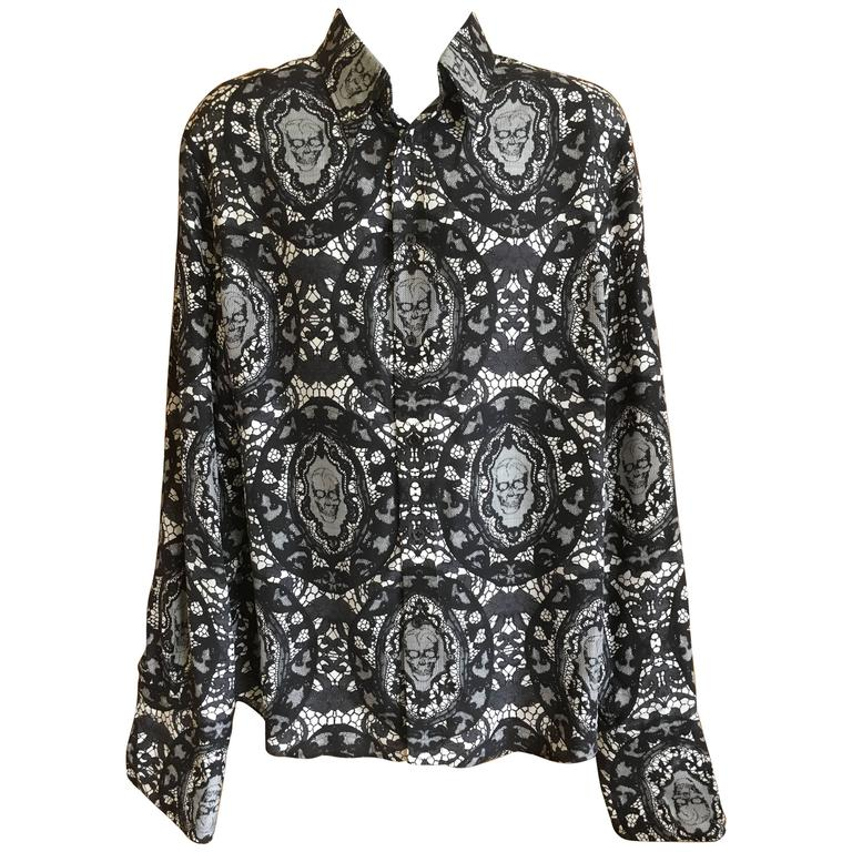 Alexander McQueen Fantastic Death Head Skull Silk Dress Shirt With French Cuffs For Sale