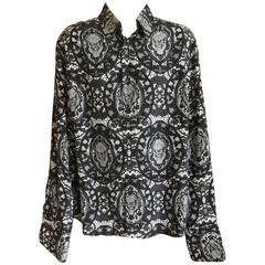 Alexander McQueen Fantastic Death Head Skull Silk Dress Shirt With French Cuffs