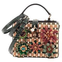 Dolce & Gabbana Treasure Box Bag Embellished Raffia and Python Small