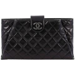 Chanel Coco Pleats Clutch Quilted Glazed Calfskin