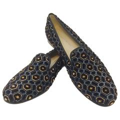 Stubbs & Wootton Black, Blue and Gold Velvet Hexagonal Burnout Slippers