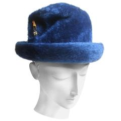 Schiaparelli Paris Fuzzy Blue Wool Hat ca 1960