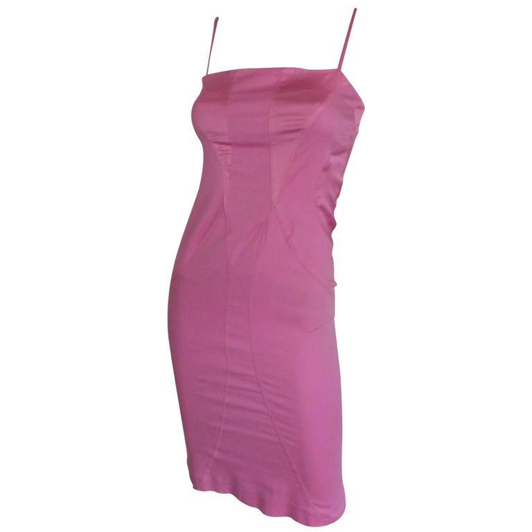 thierry mugler pink mini dress