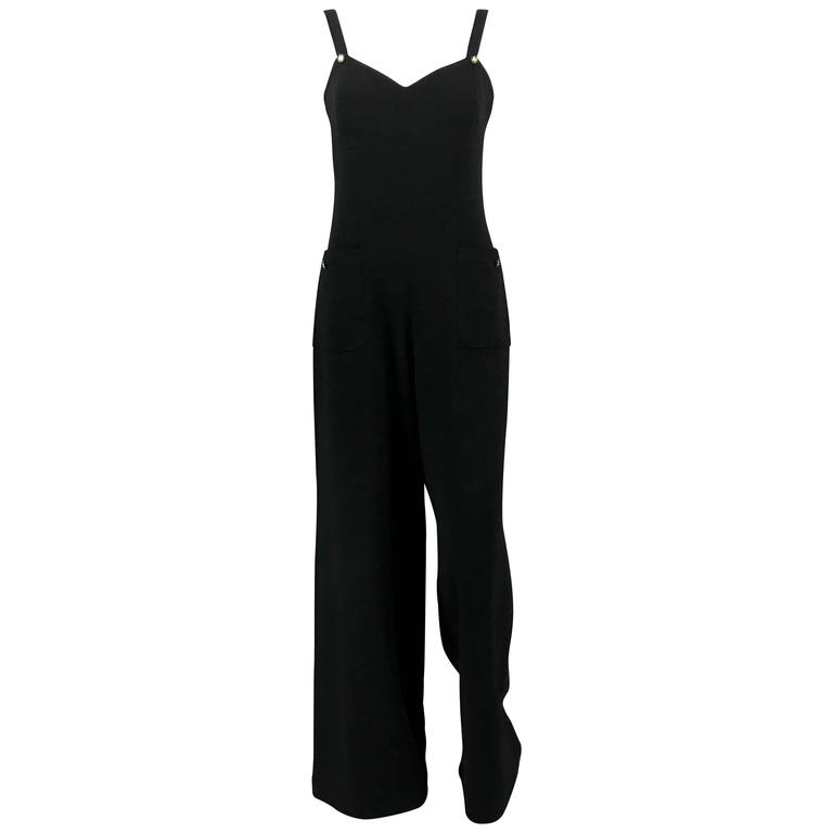 1995 Chanel Dungaree-Style Black Wool Jumpsuit For Sale