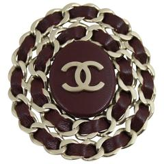 Chanel Leather and steel Brooche