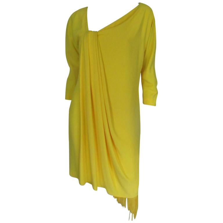 Gianfranco Ferre fringed yellow dress