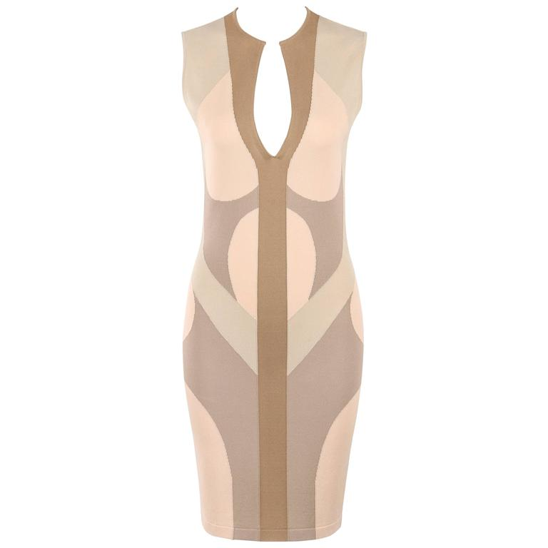 ALEXANDER McQUEEN Resort 2009 Beige Multicolor Colorblock Sheath Dress