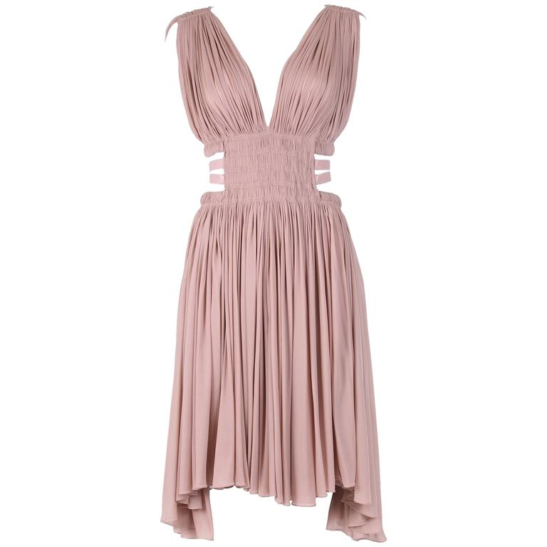 Alaia Blush Pink Grecian Mini Dress w/Deep V-Neckline & Open Sides