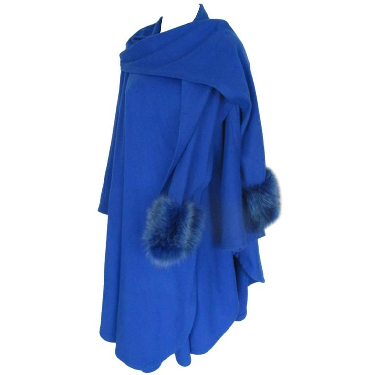 louis feraud royal blue cashmere fox fur cape